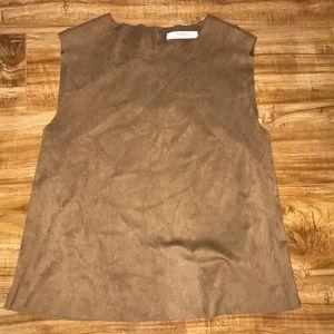 Mango Brown Leather Tank Top